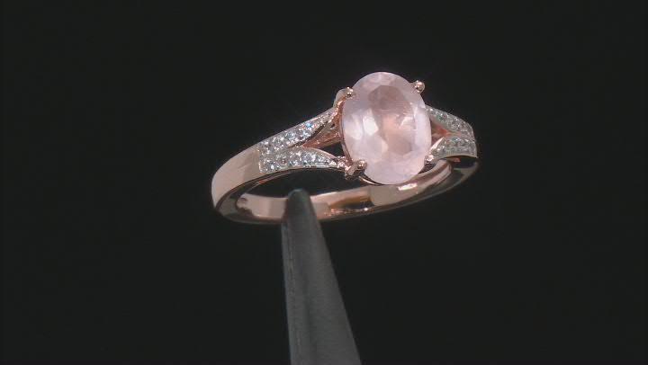 Pink Rose Quartz 18k Rose Gold Over Sterling Silver Ring .07ctw