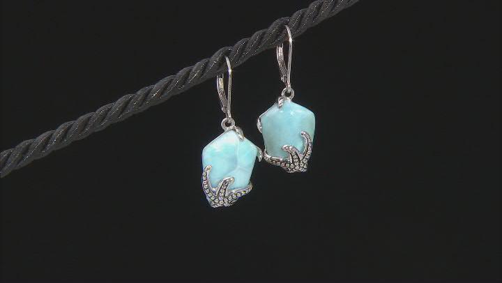 Blue Larimar Rhodium Over Sterling Silver Earrings