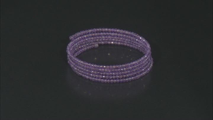 Purple Amethyst Stainless Steel Adjustable Wrap Bracelet