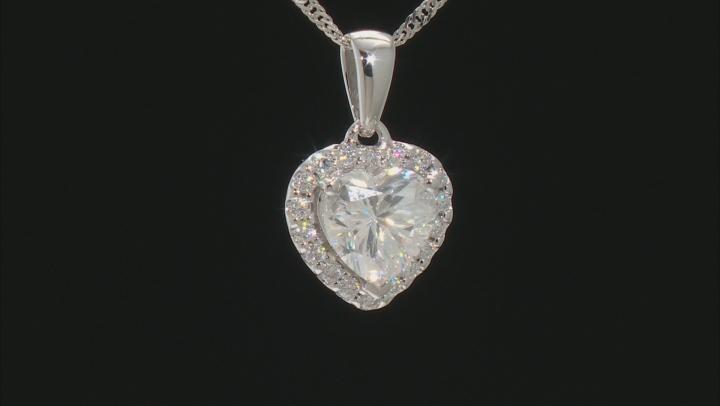 Moissanite 10k white gold heart pendant 1.38ctw DEW.