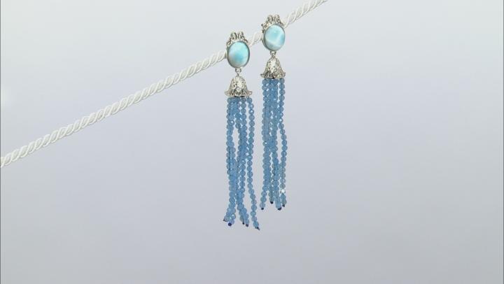 Blue Larimar Rhodium Over Silver Tassel Earrings 17.50ctw