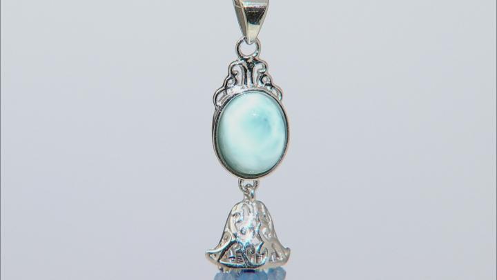 Blue Larimar Rhodium Over Silver Tassel Pendant With Chain  8.60ctw