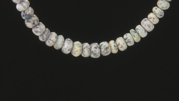 Multicolor azurite in granite sterling silver bead necklace