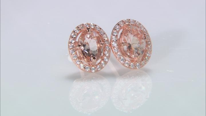 Pink morganite 18k rose gold over silver earrings 1.51ctw