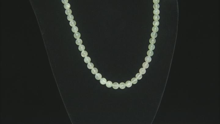 Green prehnite rhodium over silver necklace