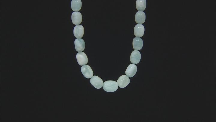 Blue aquamarine bead rhodium over silver necklace