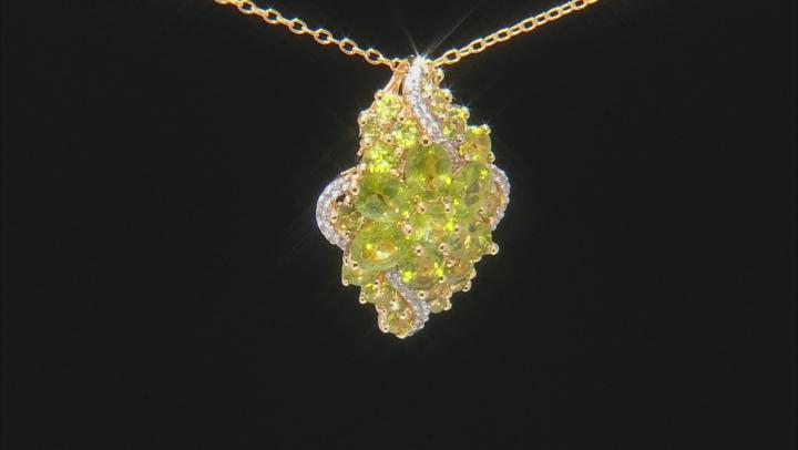Green vesuvianite 18k yellow gold over silver pendant with chain 3.49ctw