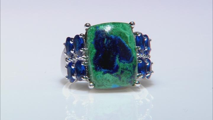 Blue azurmalachite rhodium over silver ring 1.48ctw