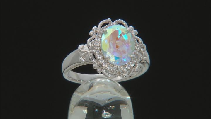 Multi-color Mercury Mist(R) topaz rhodium over silver ring 2.86ctw