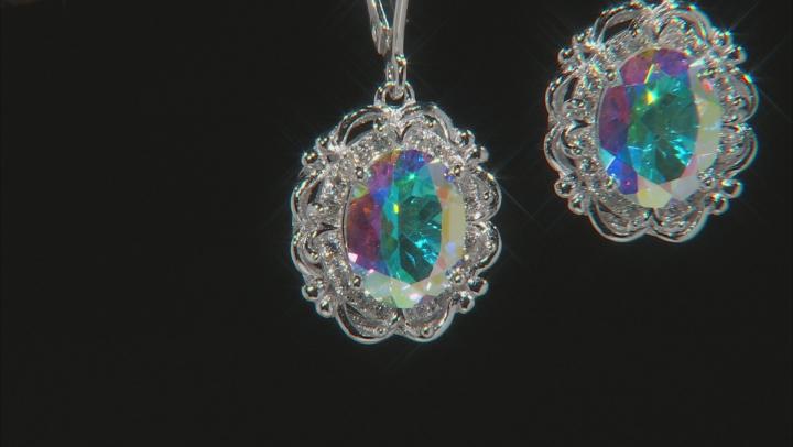 Multi-color Mercury Mist(R) topaz rhodium over silver earrings 4.11ctw