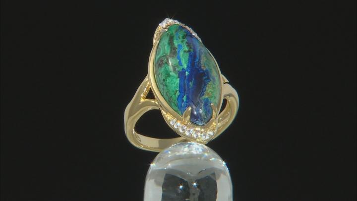 Blue azurmalachite 18k yellow gold over silver ring .16ctw
