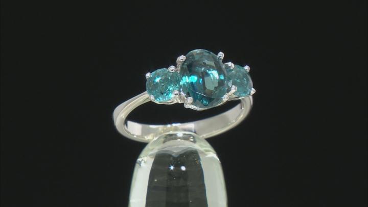 Blue chromium kyanite rhodium over silver ring 3.01ctw