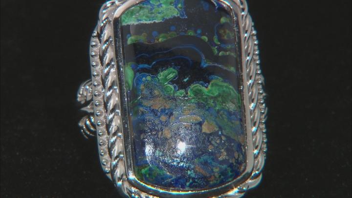 Green Azurmalachite Rhodium Over Sterling Silver Ring