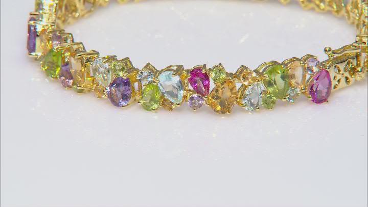 Multi-color gemstone 18k yellow gold over silver bracelet 24.27ctw