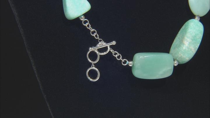Blue amazonite rhodium over silver necklace