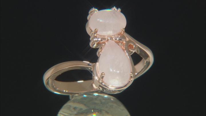 Pink rose quartz 18k rose gold over silver cat ring