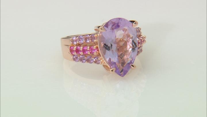 Purple Rose de France Bolivian amethyst 18k rose gold over silver ring 4.16ctw