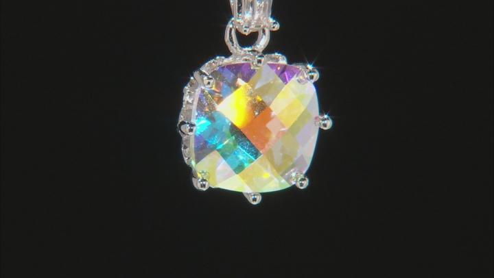 Multicolor Mercury Mist(R) topaz rhodium over silver pendant with chain 5.08ctw