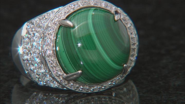Green malachite rhodium over silver ring 1.00ctw