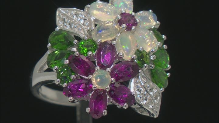 Opal Purple Rhodolite Garnet Green Chrome Diopside Topaz Sterling Silver Flower Ring 4.51ctw