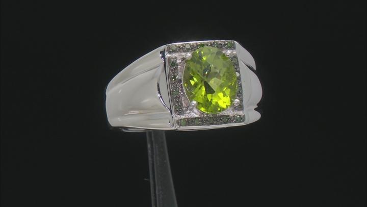 Green Peridot Sterling Silver Mens Ring 2.36ctw.