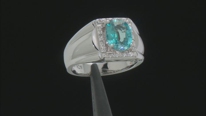 Blue Zircon sterling silver mens ring 3.08ctw