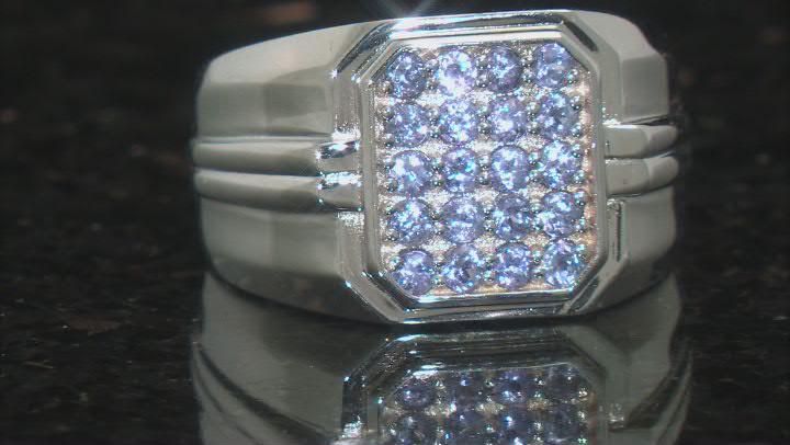 Blue Tanzanite Rhodium Over Silver Mens Ring .68ctw
