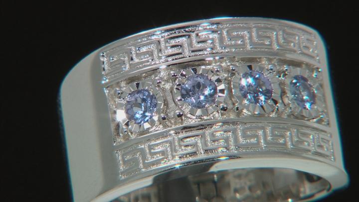 Blue Tanzanite Rhodium Over Silver Mens Band Ring .41ctw
