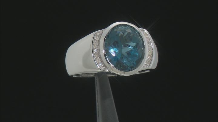London Blue Topaz Rhodium Over Silver Mens Ring 5.68ctw