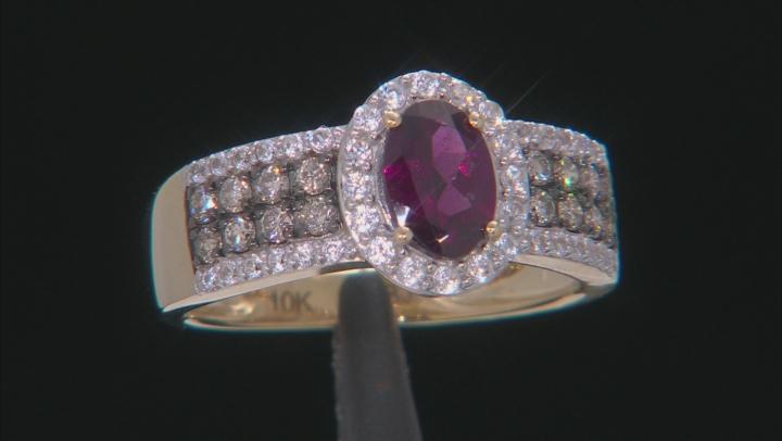 Grape Color Garnet 10k Yellow Gold Ring 1.32ctw