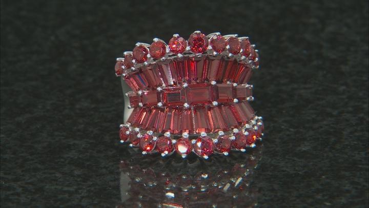 Red Vermelho(TM) Garnet Rhodium Over Sterling Silver Ring 6.94ctw.