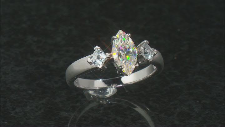 White Fabulite Strontium Titanate And Brazilian Aquamarine Silver Ring 1.57ctw