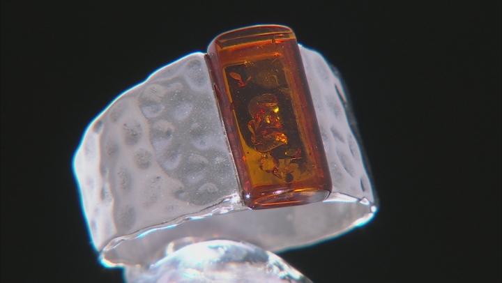 Orange Amber Sterling Silver Ring