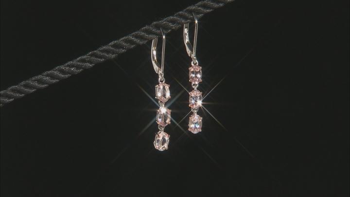 Peach Morganite Sterling Silver Dangle Earrings 2.10ctw