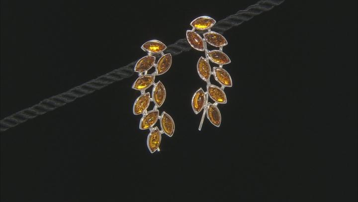 Orange Amber Sterling Silver Climber Earrings
