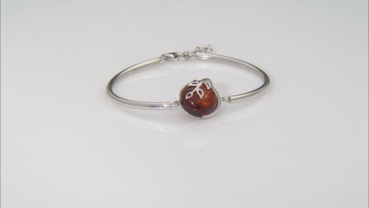 Orange Amber Sterling Silver Bracelet