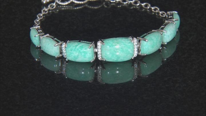 Blue Amazonite Sterling Silver Bracelet .36ctw