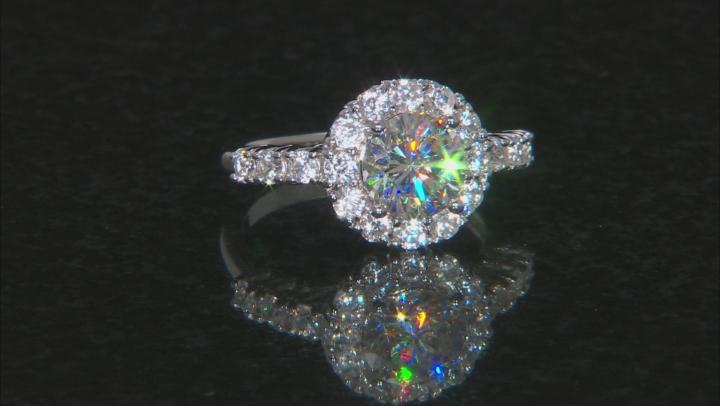 White Fabulite Strontium Titanate And White Zircon Silver Ring 3.95ctw
