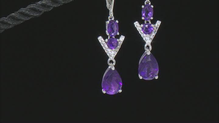 Purple Amethyst Rhodium Over Sterling Silver Earrings 4.74ctw