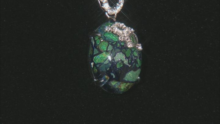 Multicolor Azurmalachite Silver Pendant With Chain .29ctw