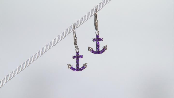 Purple Amethyst Sterling Silver Anchor Earrings .78ctw