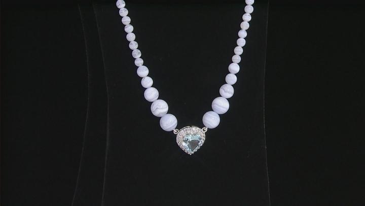Sky Blue Topaz Silver Necklace 12.60ctw