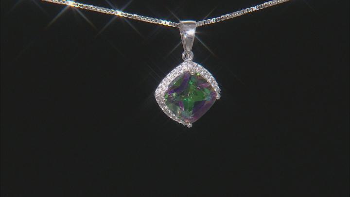 Multicolor Mystic Topaz® Silver Pendant With Chain 3.24ctw