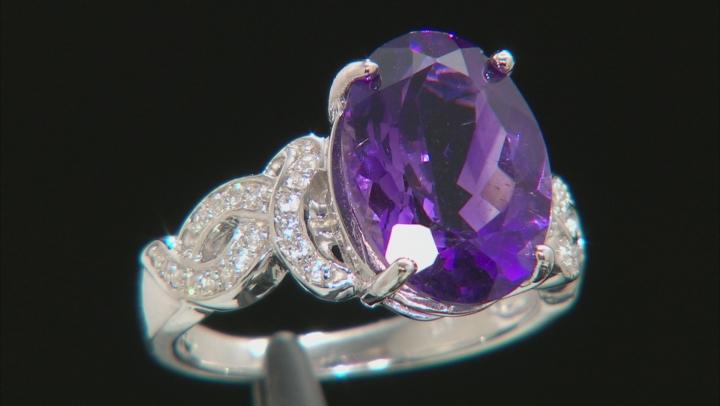 Purple Amethyst Sterling Silver Ring 4.59ctw