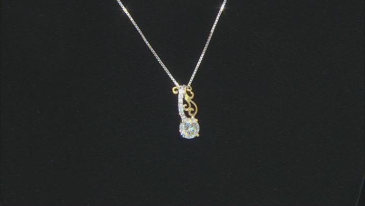 White Fabulite Strontium Titanate And White zircon 18k Gold Over Silver Two-Tone Pendant 1.81ctw