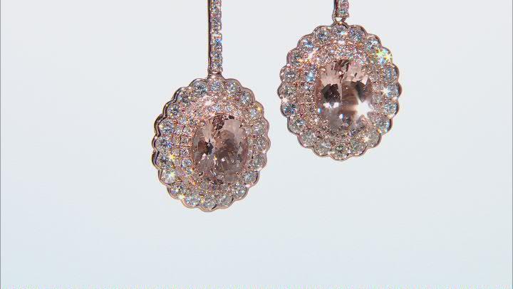 Pink Morganite 14k Rose Gold Dangle Earrings 10.20ctw
