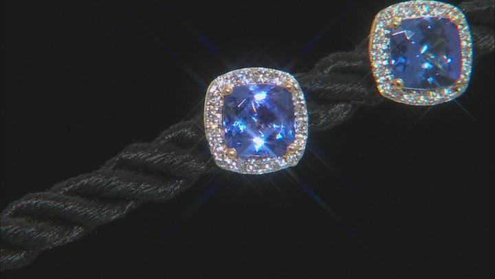 Blue Tanzanite 18k Yellow Gold Stud Earrings 1.44ctw