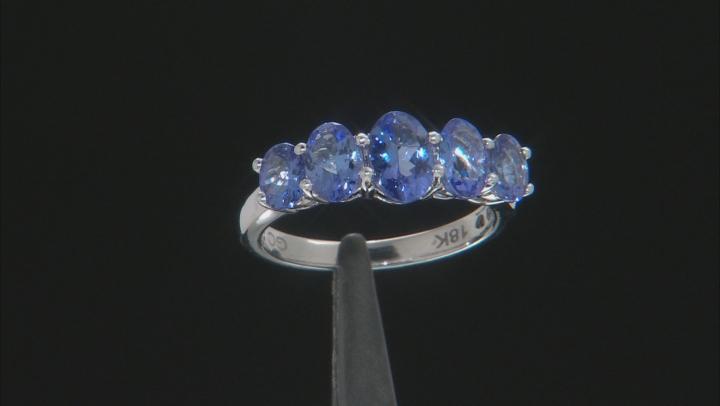 Blue Tanzanite Rhodium Over 18k White Gold Band Ring 2.30ctw