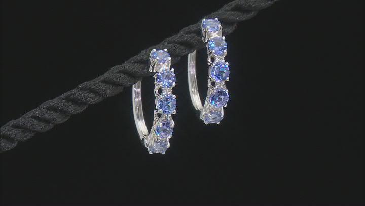 Blue Tanzanite Rhodium Over 18K White Gold Hoop Earrings 1.65ctw