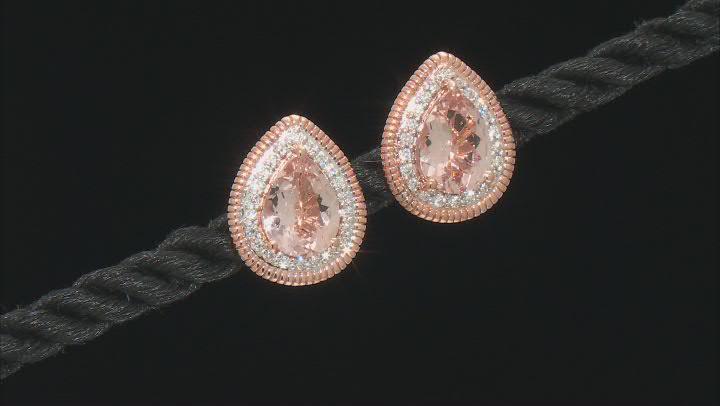 Pink Morganite 14K Rose Gold Earrings 2.02ctw